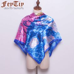 >> Click to Buy << Women's Blue Fashion Painting Silk Satin Head Scarves 2017 New Woman Big Square Shawl Scarf Office Hijab 90cm*90cm #Affiliate