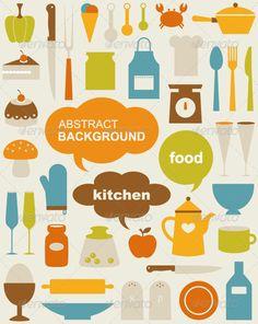 Vector kitchen Icons #並んでる