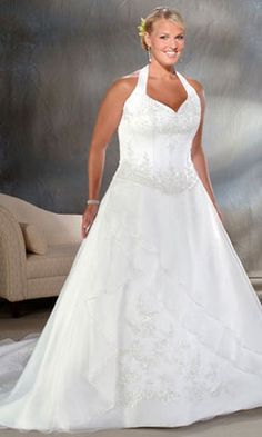 Beautiful Hot Ing Plus Size Wedding A Line Halter Court Train Organza Online Affordable For