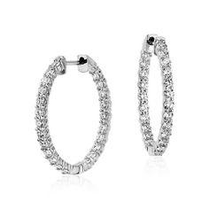 Diamond Hoop Earrings in 18k White Gold (2 ct. tw.)