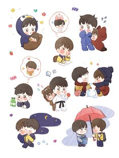 Embedded image Exo Stickers, Kawaii Stickers, Kaisoo, Kyungsoo, Character Drawing, Character Design, Exo Cartoon, Kpop, Doodle Art
