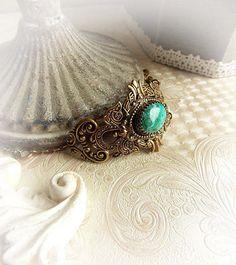 Medieval turquiose Chrysocolla bracelet ornate gemstone