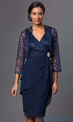 Shop knee-length mother-of-the-bride dresses and plus-size dresses at Simply Dresses. Short bridesmaid dresses with matching lace bolero jackets. Mother Of Bride Outfits, Mother Of Groom Dresses, Mothers Dresses, Mother Of The Bride, Mob Dresses, Trendy Dresses, Short Dresses, Fashion Dresses, Formal Dresses