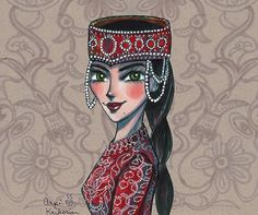 Armenian girl in traditional costume Armenian American, Armenian Culture, Canvas Prints, Art Prints, Printed Bags, Art Girl, Character Art, Folk Art, Art Drawings