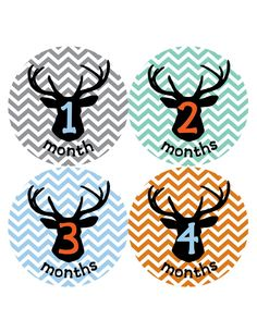 Baby Boy Monthly Stickers Deer Antler Hunter by BuddhaBellies, $9.00