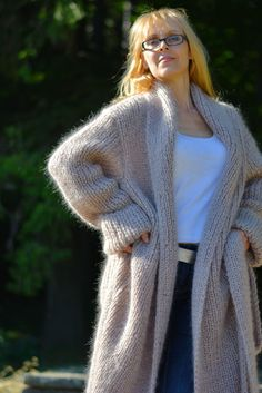 READY handmade mohair coat plus size mohair cardigan shawl hand knitted coat mohair robe mohair coat fuzzy mohair coat long mohair coat by Dukyana on Etsy Knitted Coat, Mohair Sweater, Wool Sweaters, Shawl Cardigan, Brown Cardigan, Chunky Knitwear, Coat Patterns, Knitting Patterns, Crochet Patterns