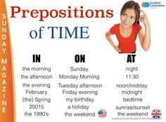 ' Prepositions of time ' SUNDAY MAGAZINE