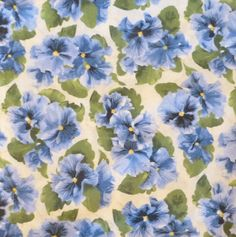 "Cotton Fabric,Blue Pansies, ""Lovely"" by Debbie Beaves for RJR Fabrics, Home Decor,Clothing,Quilt, Cotton Fabric, Beautiful Pansy Flowers"