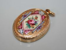 ANTIQUE VICTORIAN 9CT GOLD ROSE ENAMEL PHOTO LOCKET PENDANT VINTAGE JEWELLERY CO