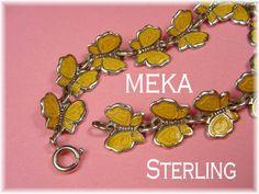Meka - Guilloche Enamel Sterling Silver Yellow Butterfly Bracelet - Denmark