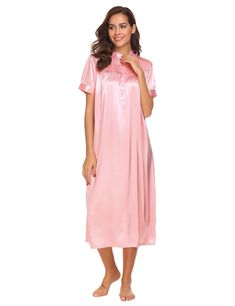 31c23870e7e Ekouaer Nightshirt Womens Short Sleeve Nightgown Nightware Waltz Gown Pink  M    More info could be found at the image url. Pamela Fashion