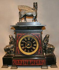 Французский Египетский Возрождение Часы каминные - 1830