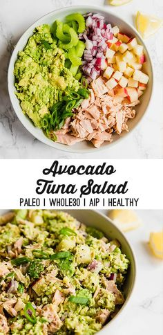 This avocado tuna salad is an easy and healthy lunch option! Whether you're … This avocado tuna salad is an easy and healthy lunch option! Whether you're paleo, or AIP, this tuna salad will be perfect for you. Healthy Food Recipes, Healthy Meal Prep, Beef Recipes, Healthy Snacks, Tuna Salad Recipes, Whole30 Recipes, Fish Recipes, Primal Recipes, Breakfast Healthy