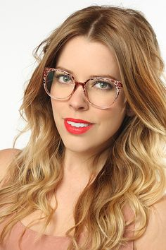 'Ashlee' Unisex Rounded Clear Glasses - Brown Web - 5136-6