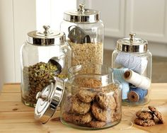 Glass Canisters #WilliamsSonoma: Even your pantry will look classy.