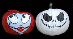 These Jack and Sally pumpkins are PERFECT for Halloween!