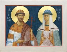 Choose the paint type (acrylic or tempera) and the size of a painted icon of Emperor Nicholas II and Empress Alexandra - the Holy Royal Martyrs - to see its preliminary price. This icon is painted to order based on your preferences Old Fashion Christmas Tree, Retro Christmas, Primitive Crafts, Primitive Christmas, Country Christmas, Christmas Christmas, Paint Icon, Paint Types, Byzantine Icons