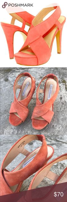 DVF Salmon pink open toe platform heels size 6 Very comfortable and cute salmon colored heels. Used Diane von Furstenberg Shoes Platforms