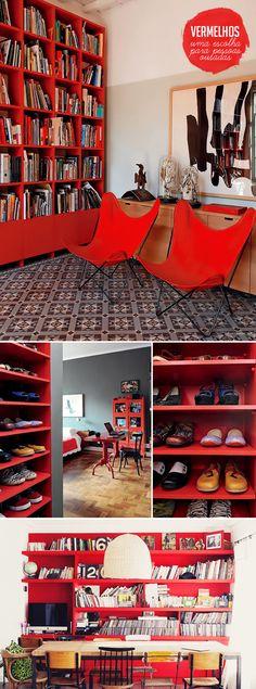 red bookcases   estantes vermelhas #decor #home #red
