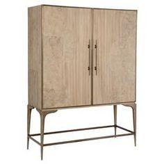 Ombra Modern Ash Burl Dark Bronze Bar Cabinet   Kathy Kuo Home