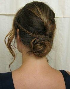 Hair. Brunette. Subtle highlights. Loose curls. Small braids. Brown hair. Low bun. Updo.