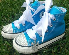 FROZEN SHOES - Elsa Costume - Snowflake Charm - Frozen Party - Frozen dress - Frozen Birthday - Crystals - Bling Converse - Toddler/youth                                                                                                                                                      More
