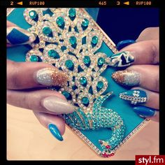 ♥ Blue nails #cross #rhinestone