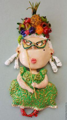 Статуэтки ручной работы. Ярмарка Мастеров - ручная работа. Купить Настенное украшение Дама с фруктовым париком. Handmade. Комбинированный, карнавал