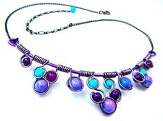 Turquoise+and+Purple+Jade+and+Glass+beads+Wire+by+CarrieEastwood