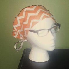 Orange Chevron Surgical Scrub Hat by FourEyedCreations on Etsy, $15.00 https://www.etsy.com/listing/173527386/orange-chevron-surgical-scrub-hat?