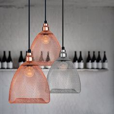 Bobby Cage Mesh Pendant Light - Silver and Rose copper