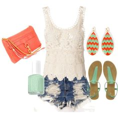 Coral and Mint Lace