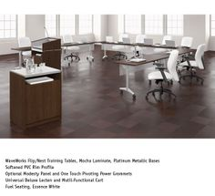National Office Furniture - WaveWorks Flip/Nest Training Tables, with Fuel task/work seating in training room.