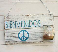 Luminaria con vaso Bienvenidos - comprar online