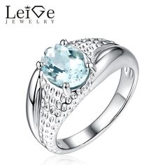 Find More Rings Information about Leige Jewelry Oval Cut Natural Aquamarine Ring for Women March Birthstone 925 Sterling Silver Promise Ring Anniversary Gift,High Quality ring for,China rings for women Suppliers, Cheap natural aquamarine ring from PrettyJewelry on Aliexpress.com