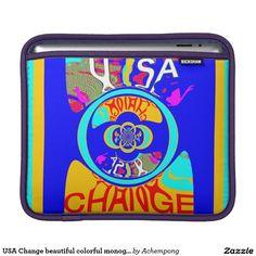 USA Change beautiful #colorful monogram art design Sleeve For #iPads