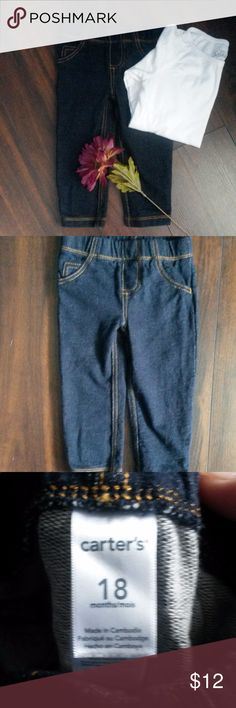 Boy's jeans-size 18 mths. Navy blue, stretchy jeans (more like jeggings type of fabric). EUC with no discoloration, stretching or pilling. Carter's Bottoms Jeans