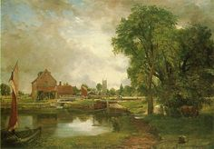 "John Constable, ""Dedham Lock and Mill"" (c. 1820), oil on canvas, The Currier Gallery of Art, Manchester, N.H. #Landscape #Art"