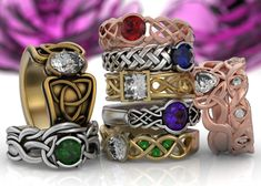 Unique Celtic engagement rings, featuring diamonds, moissanites, emeralds, sapphires and other stones.  Custom made and custom designed engagement bands!