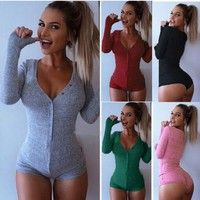 Wish |  Fall Popular Hot Sale Sexy Long-Sleeved V-Neck Pure Color Tight Cultivate One's Morality Mini Dress