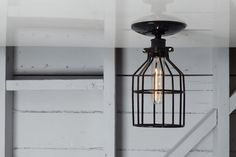 Industrial Cage Light  Black Wire Cage by IndLights on Etsy, $50.00