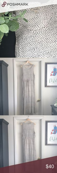 Lucky Brand Maxi Dress Maxi Dress. Lucky Brand. Size L. Cream color with simple black rectangle pattern. 100% Rayon. Sleeveless. Functional drawstring at waist. Has pockets! Lined underneath until knee.  Comfortable and cute! Worn once. Great used condition. Lucky Brand Dresses Maxi