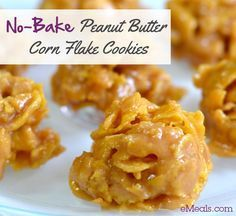 No Bake Peanut Butter Corn Flake Cookies, these are my absolute favorite childhood treat!