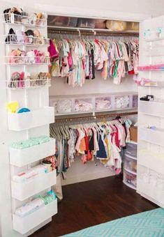 Organized nursery closet