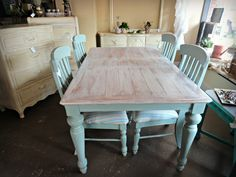 Farmhouse Dining Set in Chalk Paint® by Annie Sloan in Pure White & Duck Egg. https://www.facebook.com/pages/Three-Freckles/214928025257918?ref=hl