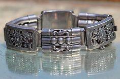 Beautiful Lacy Vintage Mexican 925 Sterling Silver Openwork Link Bracelet | eBay