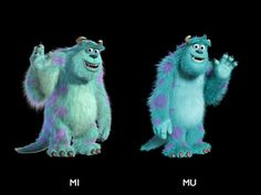 Young Sulley and Old Sulley- Young Mike and Old Mike from Monsters University- In the Monsters University bonus features you can also learn what it was like for animators to make these two look 18 years younger.