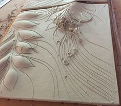 Carving ceramic porcelain tiles at Natalie Blake Studios ~ with over 40 glaze colors to choose from! Visit us in our Brattleboro Vermont studio and have a tour!
