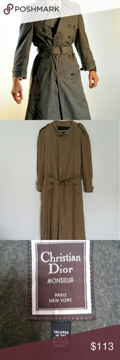 Vintage Monsieur Christian Dior Belted Trenchcoat Size 40 long in great condition.  Classic style and great  quality. Inner lining can be unzipped for lighter weather. Very dense in weight. Timeless piece. Needs to be dry clean. Christian Dior Jackets & Coats Trench Coats