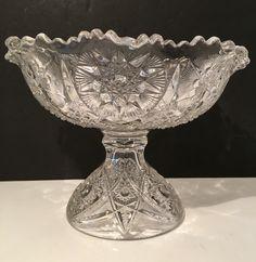 Vintage Clear Glass Bowl Retro Centerpiece Fruit Bowl1940s by VintageLoveAntiques on Etsy https://www.etsy.com/listing/258662770/vintage-clear-glass-bowl-retro